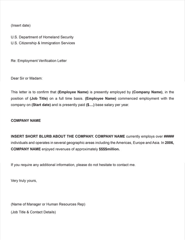 Employment Verification Sample Letter