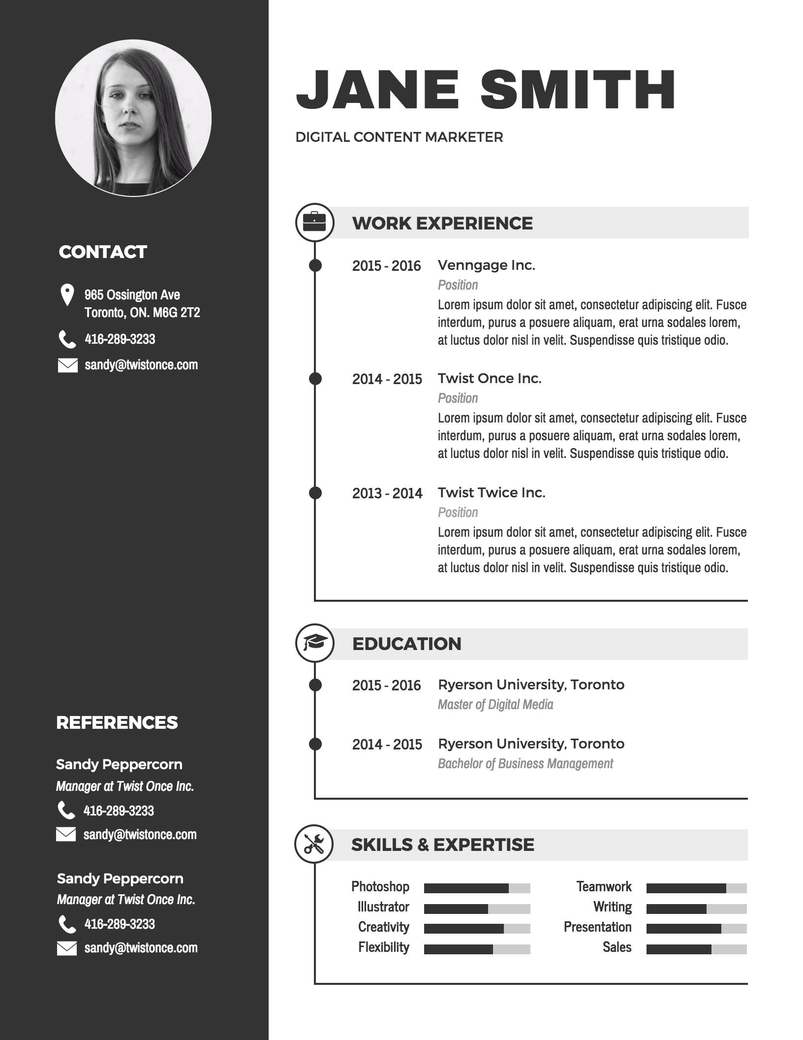infographic cv template microsoft word free download
