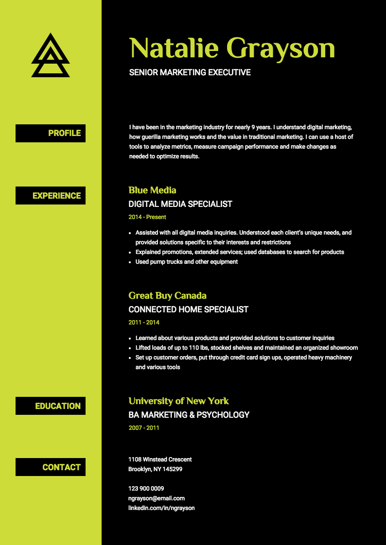 graphic design resume summary statement