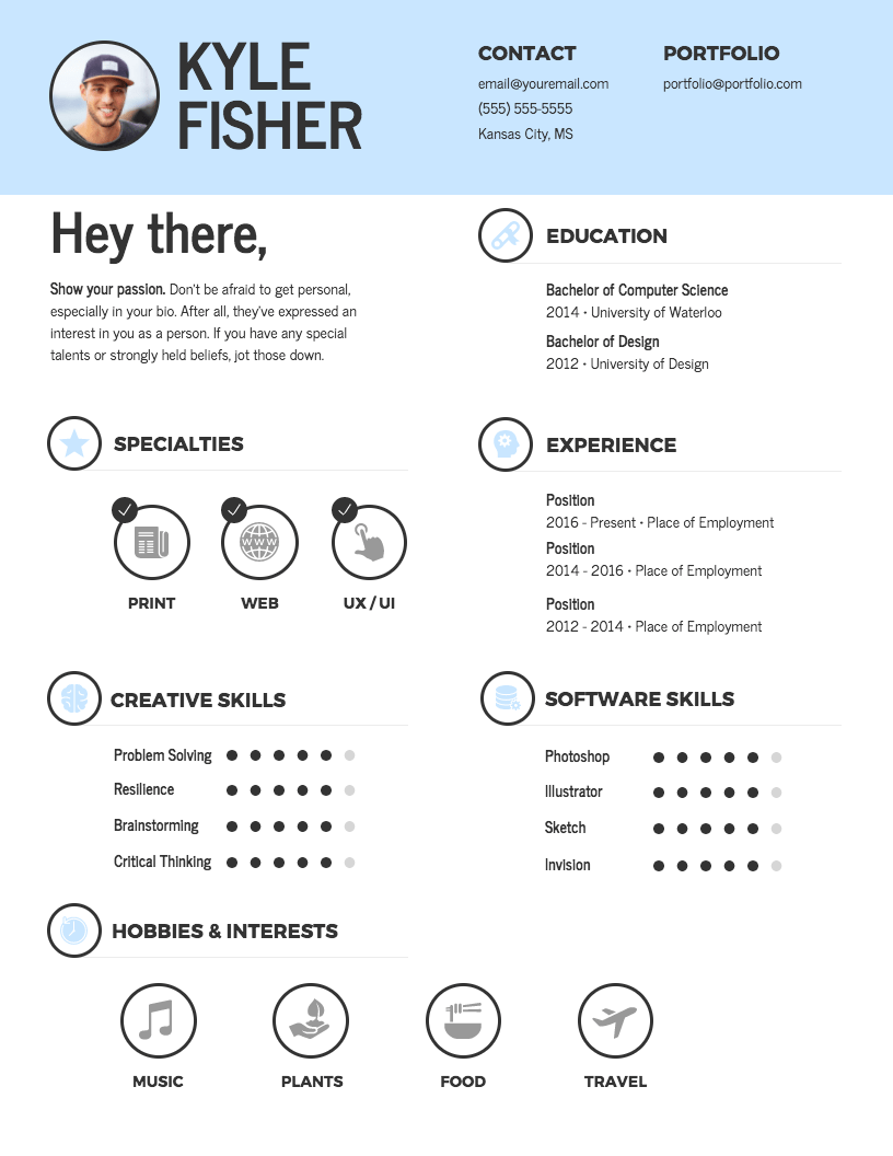 resume with a picture template