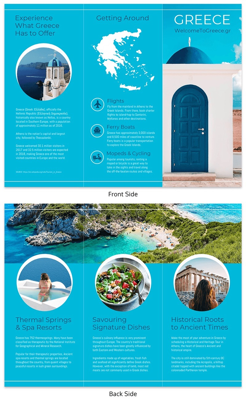 tri fold travel brochure example