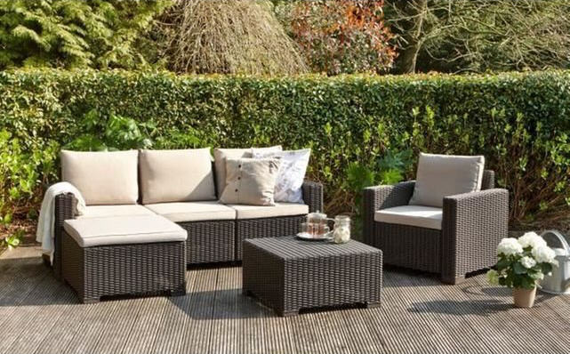 Salon De Jardin Moorea 4 Pieces Aspect Rotin Allibert - Salon En Rotin Pas Cher