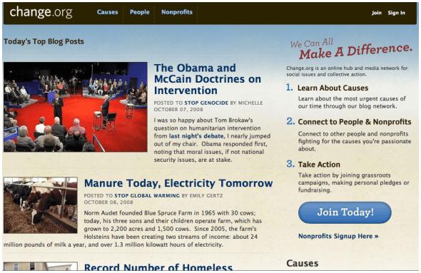 Change.org new blog network