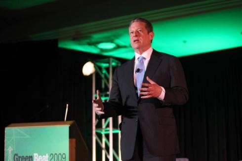 Former Vice President and Nobel Peace Prize Winner Al Gore delivers the closing keynote on November 19, 2009 at GreenBeat