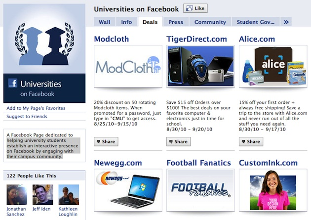 universities on facebook