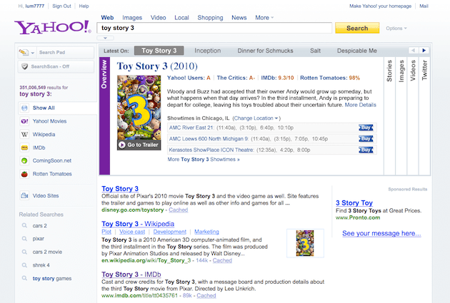 Yahoo Search Movies Screenshot
