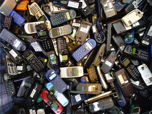 mobile phone pile