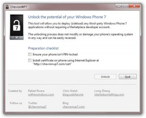 ChevronWP7 Windows Phone 7 jailbreak tool