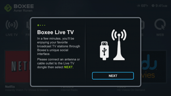 Boxee Box Live TV screen 1