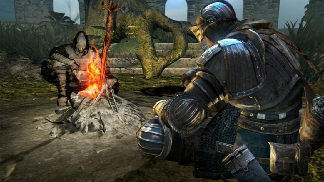 Enjoying the fire in Dark Souls.