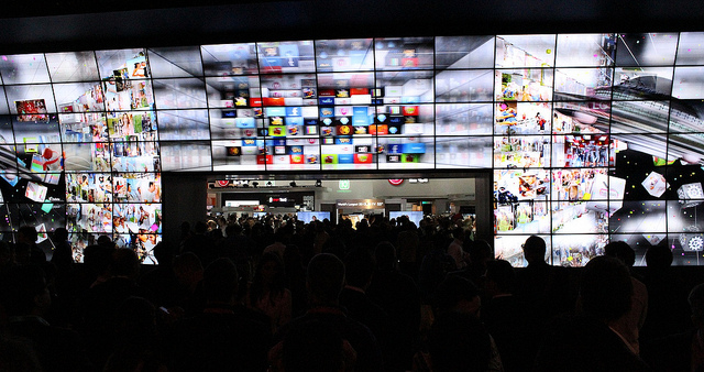Wall of TVs at the LG booth at CES 2012