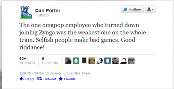 OMGPOP CEO Dan Porter tweets that his former employee is a failure
