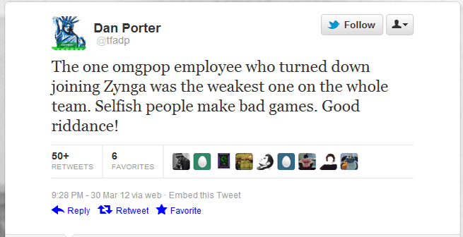 OMGPOP CEO Dan Porter tweets that his former employee is a failure