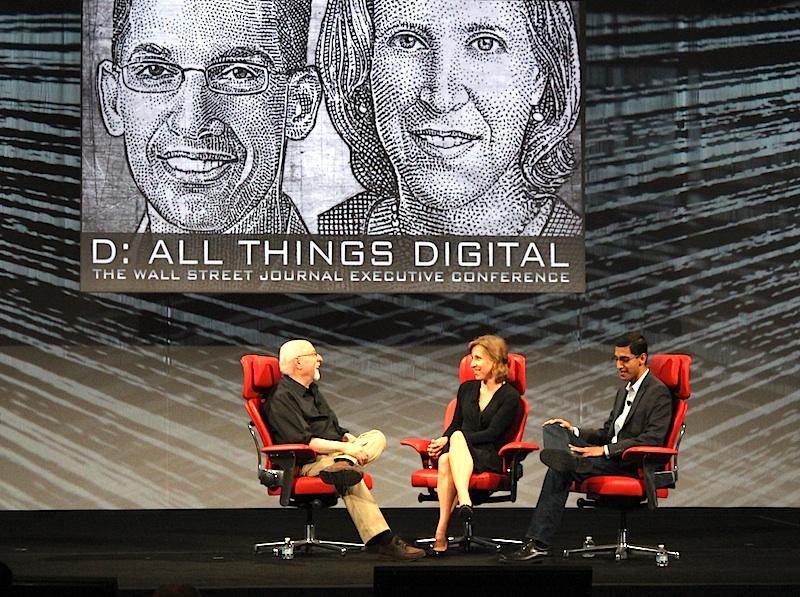 Walt Mossberg, Susan Wojcicki, and Sundar Pichai