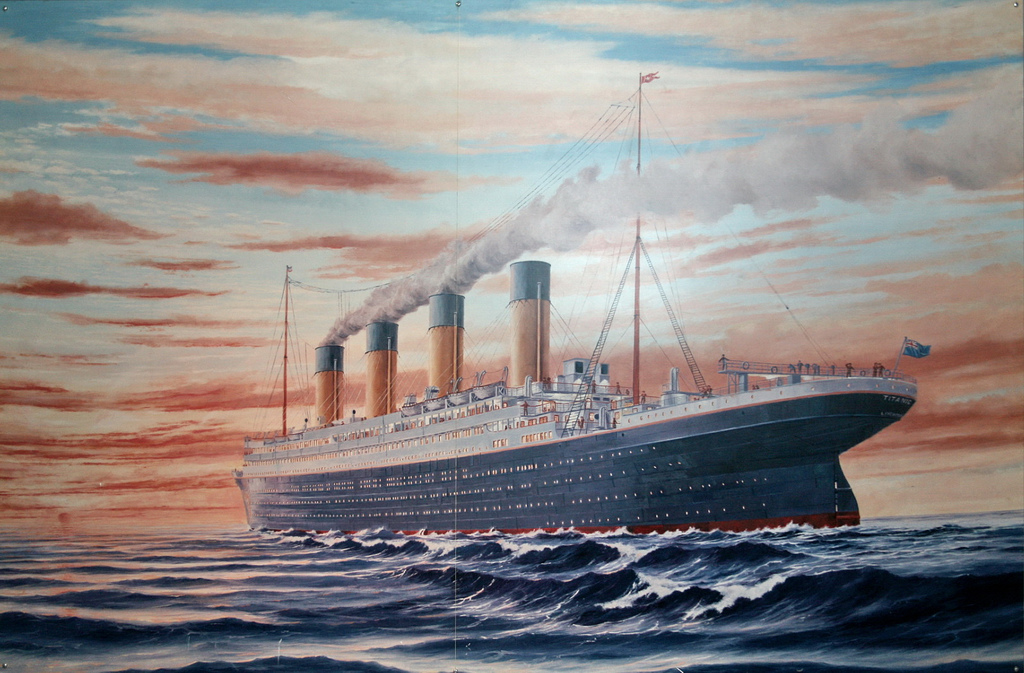 "Lithograph of the Titanic illustrates ""unsinkable"" publishers sailing towards the iceberg of digital media"