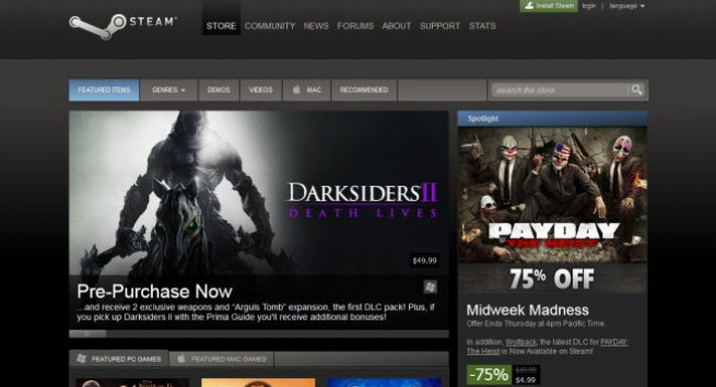 Screenshot of Steam (taken 8/8/2012)