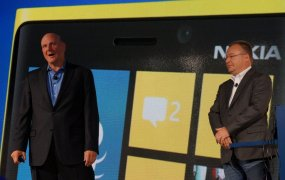 Steve Ballmer and Nokia's Stephen Elop at the Windows Phone 8 launch