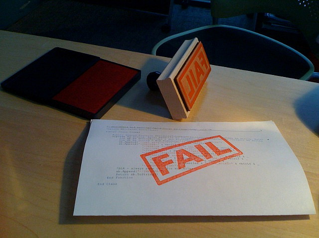 Stamp of failure