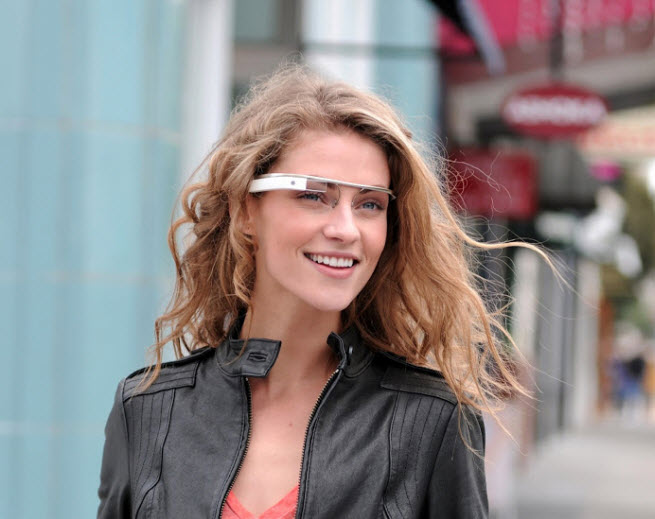 A model demonstrates Google's new Project Glass technology.