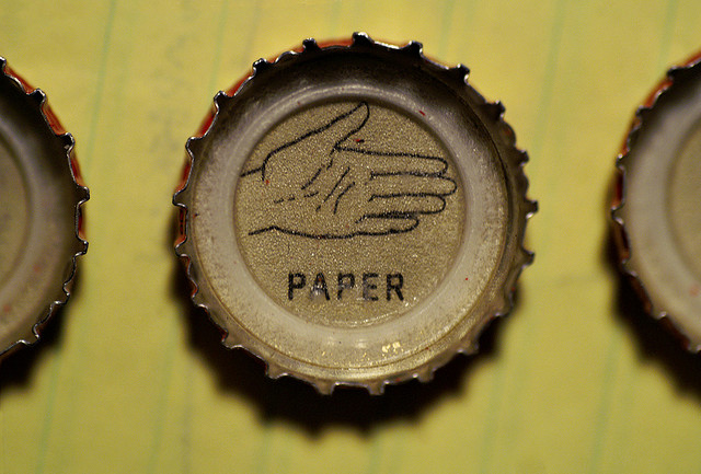 rock paper scissors bottlecaps