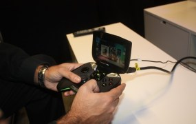 The Nvidia Shield Android portable gaming device.