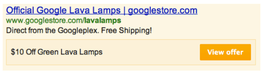 Example: the Google Offers Extension ad product