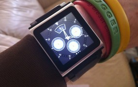 "The current ""Apple smart watch:"" An iPod Nano connected to a wristband."