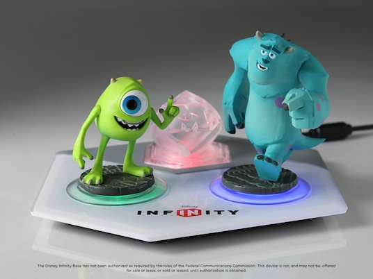 Mike and Sulley with the Disney Infinity base