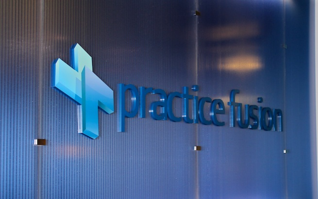 Practice Fusion sign in its San Francisco-based office