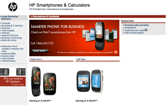 """HP's smartphone """"section"""""""
