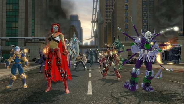 Players on the street in Gotham City in DC Universe Online