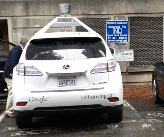 Google self-driving car parked in NL space at UC Berkeley