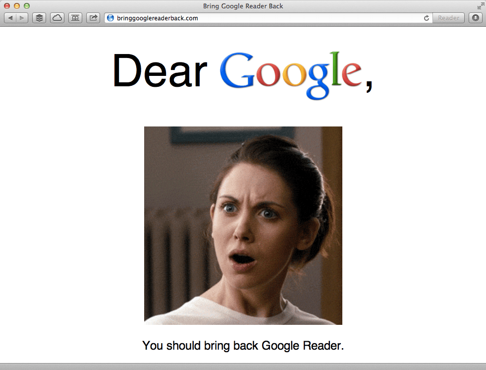 Bring google reader back