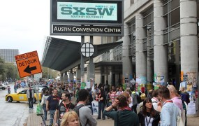 The crowd outside the Austin Convention Center at SXSW 2013
