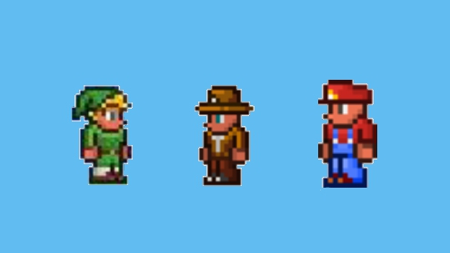 Sprites of the infringing in-game items.