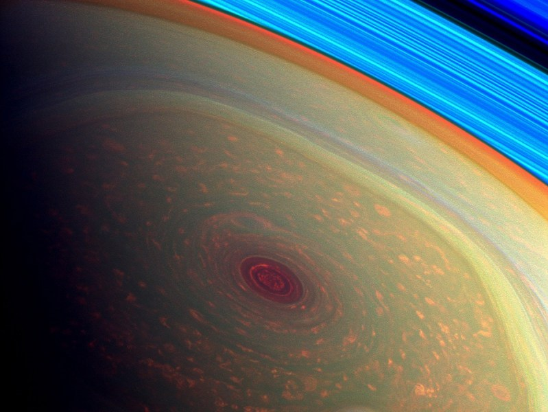 Cassini's Saturn Hurricane, False Color View