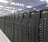 Photo of a rack of servers inside a data center