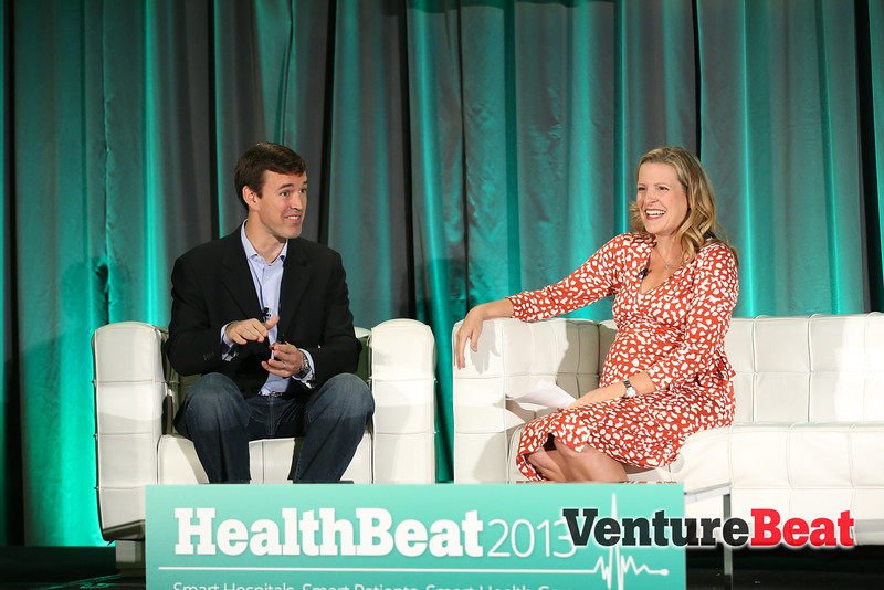 Morgenthaler's Rebecca Lynn and Doximity CEO Jeff Tangney on stage at HealthBeat