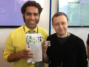 Kipp Bradford and Alasdair Allan with data-sensing motes used at Google I/O