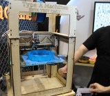Type A Machines makes a 3D printer that competes with MakerBot. Why buy a Type A instead? It is $900 cheaper, prints larger objects (up to 10x9x9 inches), and is more reliable, according to Elijah Post (pictured on the right), who creates documentation and does tech support for the company. He said the machine had been tested out with a 48-hour continuous print job and didn't stop once -- a rarity in the world of 3D printing, apparently. Side note: Type A's headquarters are on the top floor of TechShop San Francisco, a popular workshop for hackers and makers.