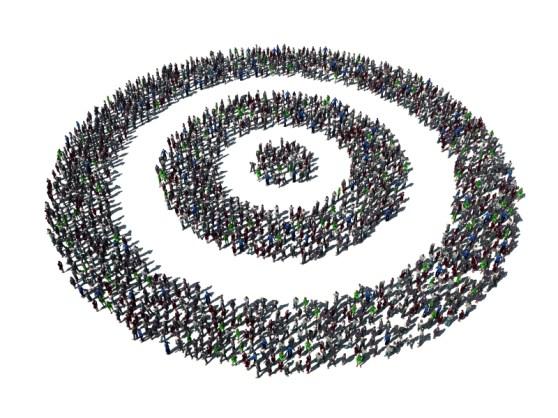 Minimum Viable Segment illustration (a bullseye made of people)