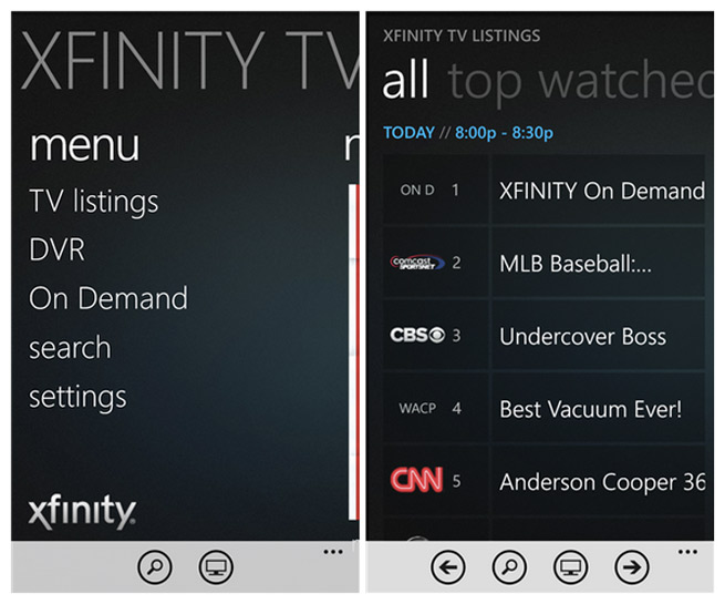Screenshot of new Xfinity TV for WP8