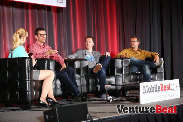 VentureBeat's Jolie O'Dell, Evernote's Dave Engberg, Pivotal Labs' Edward Hieatt, Pandora's Tom Conrad (L-R)