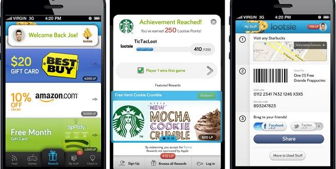 Lootsie rewards on mobile.