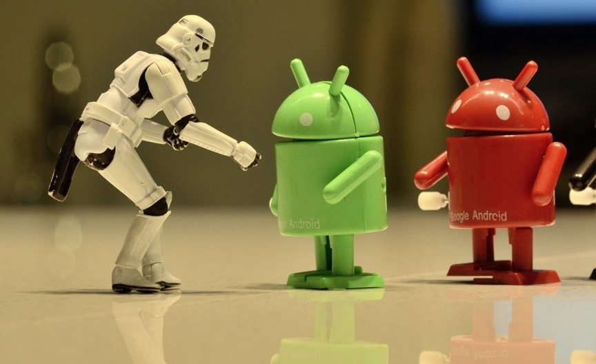 Android fighting off evil