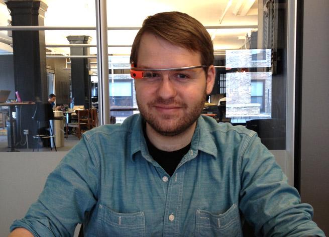 Staff Writer Sean Ludwig testing Google Glass