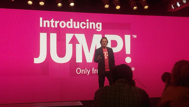 "T-Mobile CEO John Legere  presents his telecom's new ""Jump"" plan today."