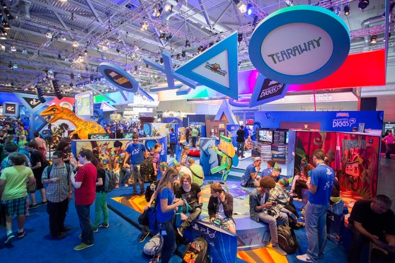 One of the many booths at Gamescom.