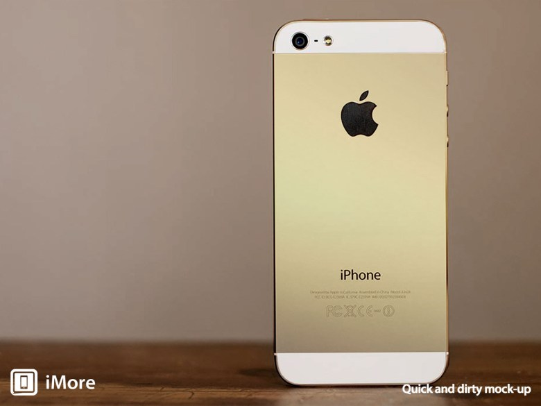 A mock-up of a golden iPhone 5S