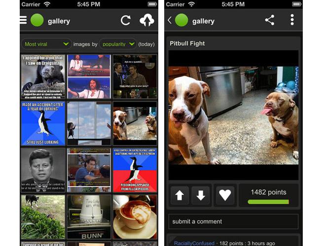 Screenshots of the Imgur iPhone app